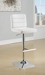 Coaster Contemporary Adjustable White Bar Stool with Chrome Finish