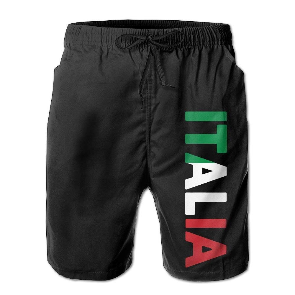 I Like Exercise Italia Italy Italian Flag Mens Summer Casual Shorts Swim Trunks with Pockets X-Large