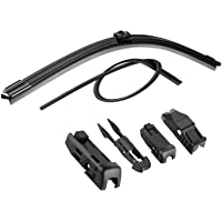 Win Power Wiper Blades 19 inches 4 Kinds Adaptor Clips Soft Frameless Car Front Windshield Wiper with Extra Rubber Refill Strip, Pack of 1