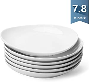 Sweese 151.001 Porcelain Dessert Salad Plates - 7.8 Inch - Set of 6, White