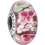 Pandora Women's Flower Garden Charm - 925 Sterling Silver and Murano Glass, 791652