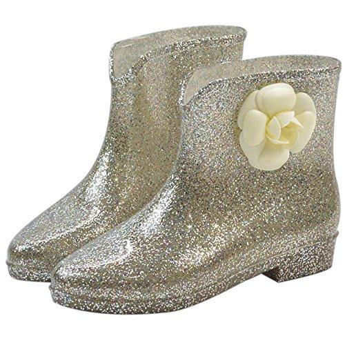 Qzunique Donna Impermeabile In Gomma Gelatina Antiscivolo Pioggia Boot Fibbia Alla Caviglia Scarpe Da Pioggia Alta Fiore Doro