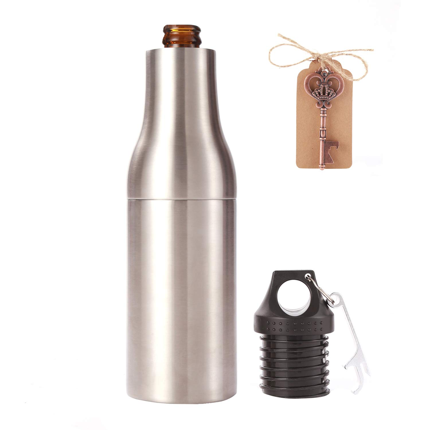 Beer Bottle Cooler Vacuum Insulated Double Walled Stainless Steel Bottle Holder Keep Your Beer Colder, 12 oz