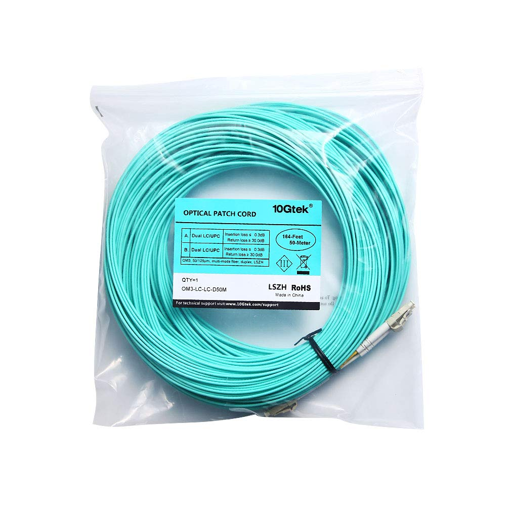 LC a LC OM3 D/úplex 50//125/µm Fiber Optic Patch Cable LSZH para SFP//10G SFP 10Gtek/® Cable de Fibra /óptica Multi-Modo 50m Available 1m to 50m /& Convertidor de Medios