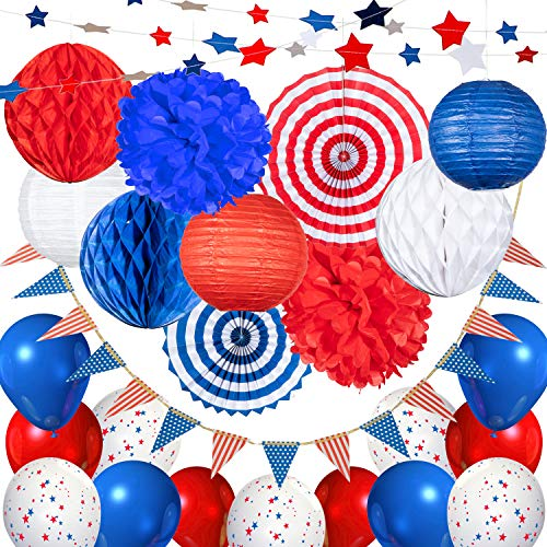 USA 4th of July Patriotic Decorations - 25 pcs Blue Red and White Paper Fans, Lanterns, Pompoms, Triangle Garland, Star Garland and Honeycomb]()