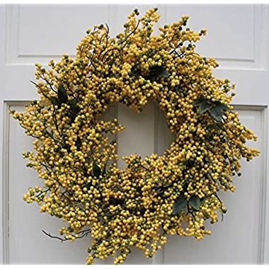 Flora Decor Canary Yellow Berry Cluster Wreath-23