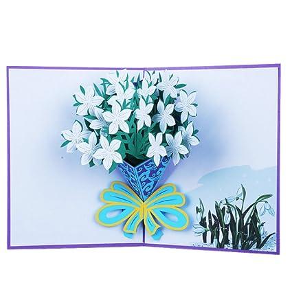 exing tarjetas de felicitación, tarjetas 3d Pop Up, tarjetas de boda de Navidad de cumpleaños, papel a la mano, diseño de narcisos