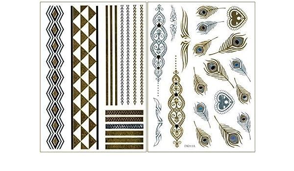 Tatuajes de Oro Flash, Tatuajes Desechables, Pavo real, Plumas ...