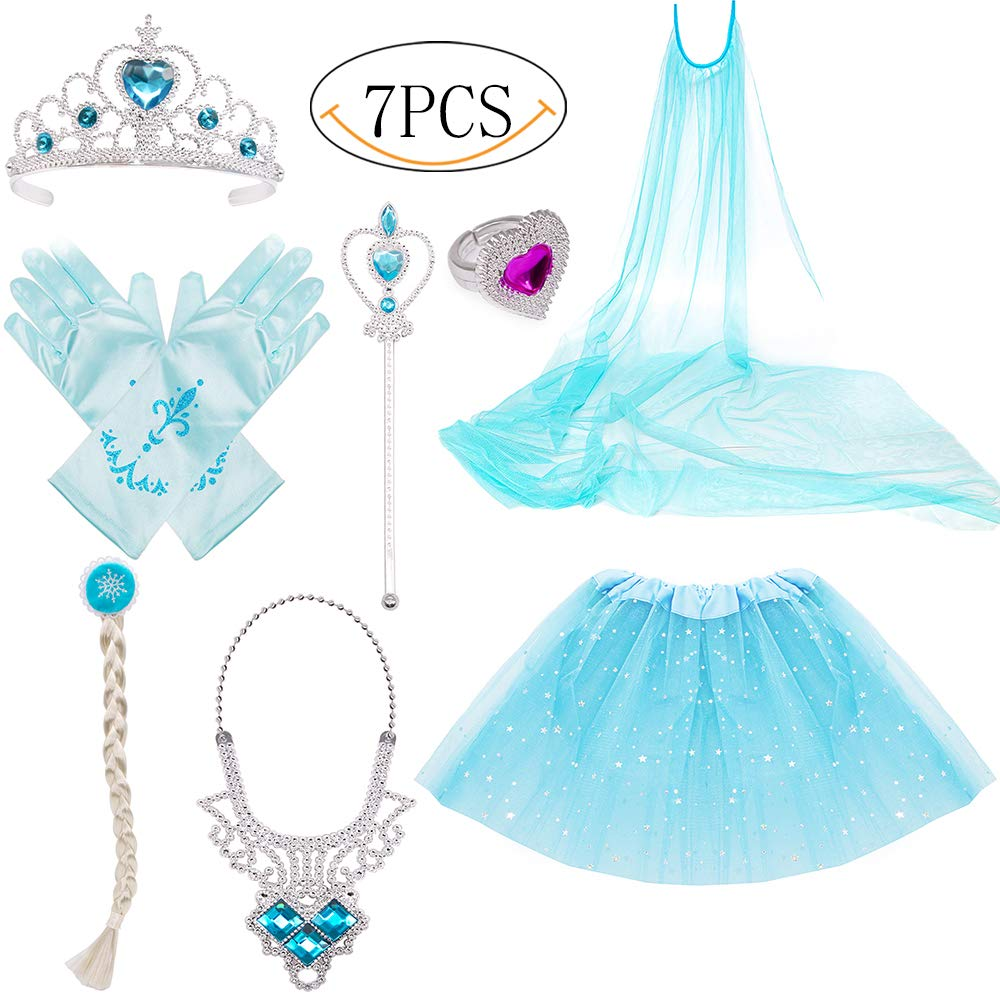 Princess Dress Up Costume Accessories Gift Set for Princess Cosplay Gloves Tiara Wand and Necklace(Blue) Yansion