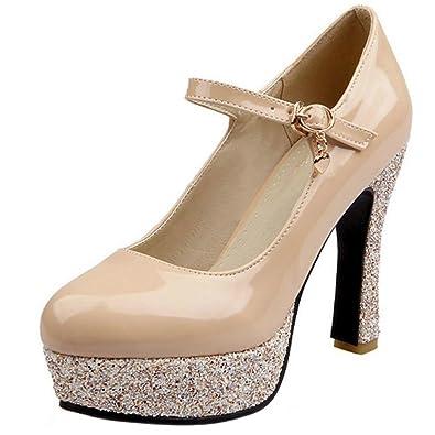 5a3a384b32ed1f Zanpa Damen Moda Schuhe mit Absatz Plateau Pumps Knochelriemchen Beige Size  32