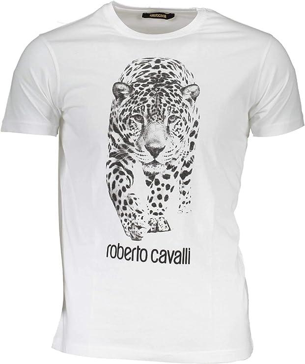 Roberto Cavalli - Camiseta de algodón para hombre, diseño de leopardo, color blanco - Blanco - Small: Amazon.es: Ropa y accesorios