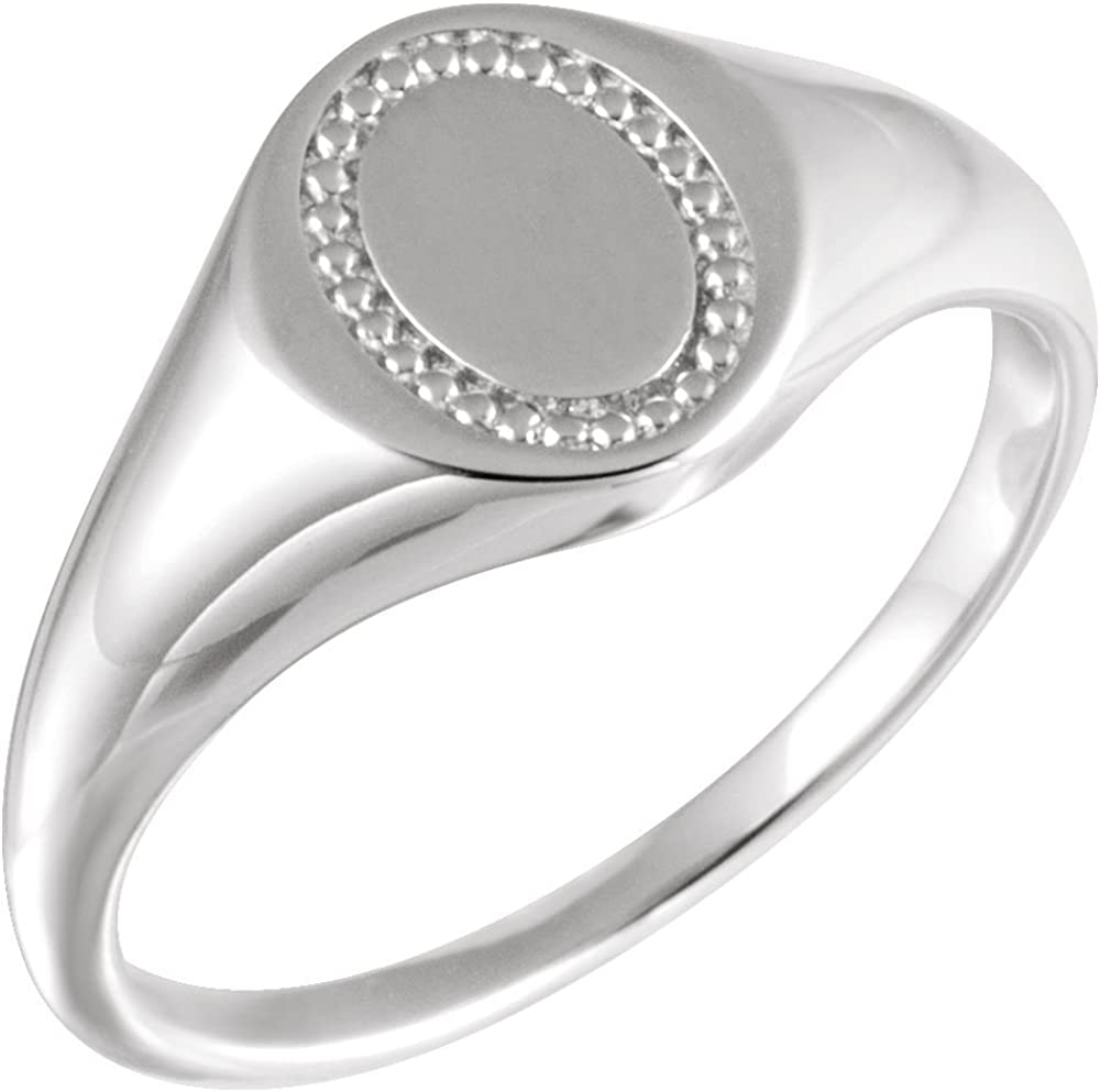 Jewels By Lux 925 Sterling Silver 10mm Oval Beaded Signet Ring