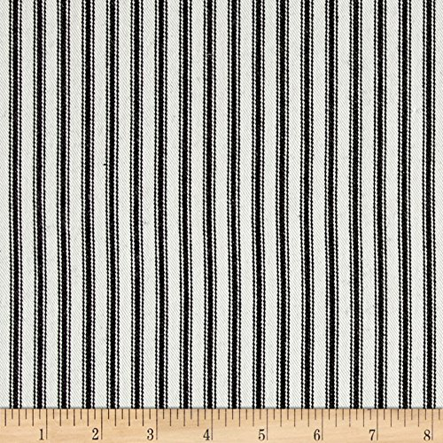 WAVERLY Classic Ticking Fabric, Black (Curtains Ticking Black)