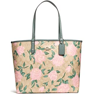 Amazon coach womens camo rose taylor tote silverbrownred one coach reversible city tote with camo rose floral print style f25874 mightylinksfo