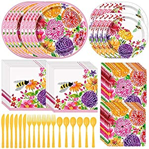 Unique Painted Spring Floral Dinnerware Bundle | Napkins, Plates, Cutlery | Garden Party, Floral-Themed Events, Bridal…