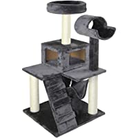 """PawHut D30-137GY 51"""" Deluxe Cat Scratching Tree Kitten Condo Play House Furniture with Hammock (Grey)"""