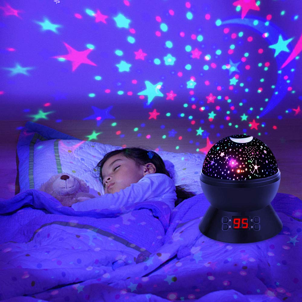 White Suteck Lighting Night Light Star and Moon Decorative Projector with Auto-Shut Off Timer 360 Rotating Colorful Night Lamp for Bedroom