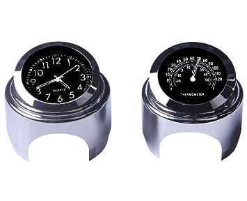 """WASTUO Reloj de manillar de motocicleta y termómetro universal de 7/8""""Manillar de"""