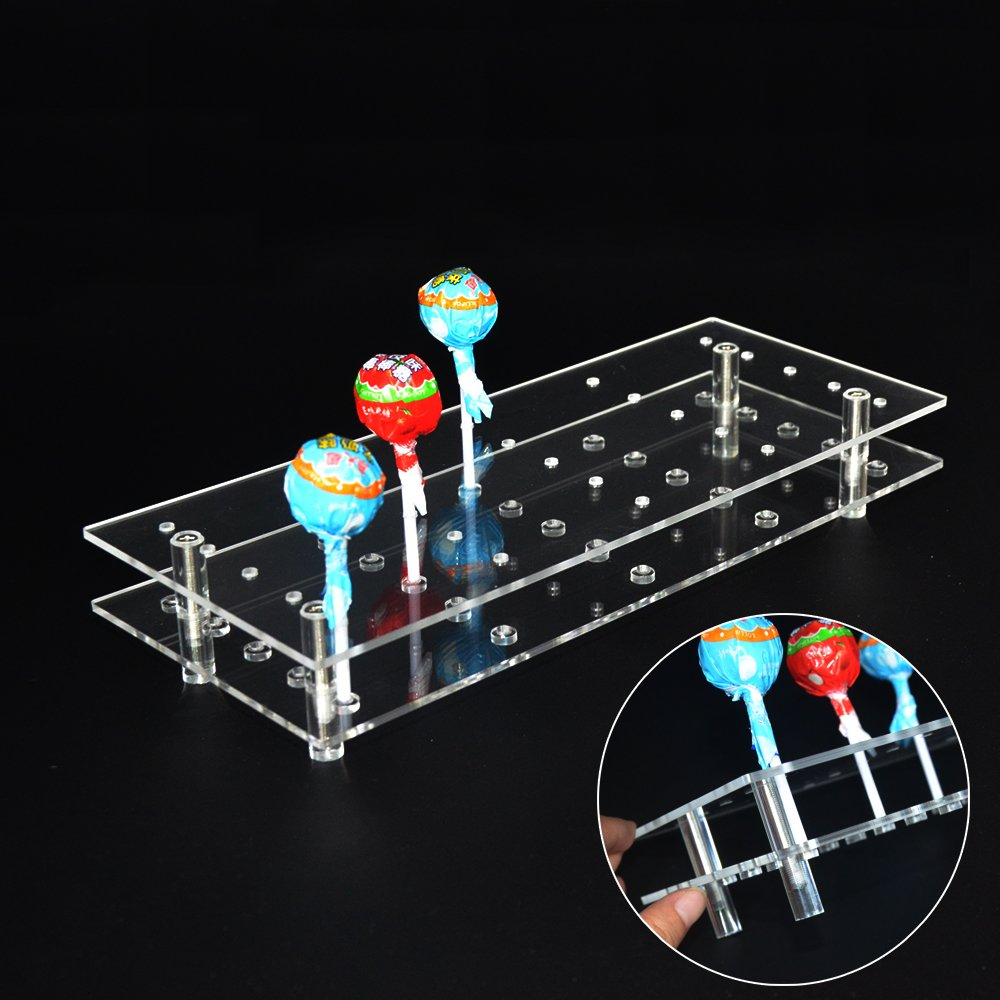 MENGCORE 25 Hole Acrylic Cake Pop Lollipop Display Stand Holder for Weddings Baby Showers Birthday Parties Anniversaries Halloween Candy Decorative (25 Hole)