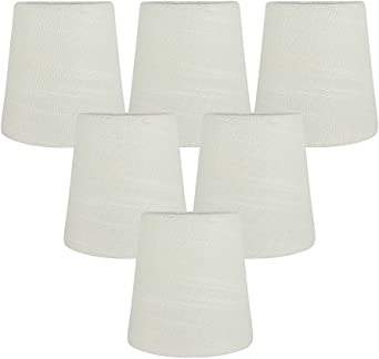 Chandelier Shades, Clip on lamp Shades Hardback, lamp Shades That Clip on Bulb with Nature Linen Dia 3