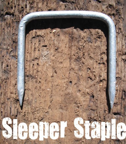 1 x HEAVY DUTY SLEEPER CONNECTING STAPLE / PIN - RAILWAY - TIMBER DOG - GALVANISED by Falcon Workshop Supplies (Railway Sleeper)