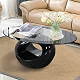 Mecor Glass Coffee Table Round Hollow Shelf-Modern Oval Design End Side Coffee Table Tempered Clear Glass Top Gloss Black-Living Room Furniture