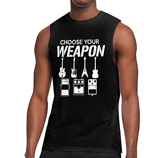 ebf1ccb7 Zack's Collection Choose Your Weapon Guitar Sleeveless T Shirts for Men 3XL