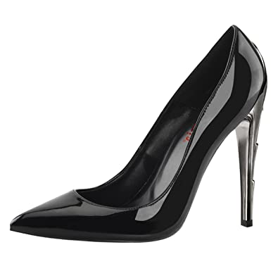 Womens Black Pointed Toe Pumps Chrome Lightning Bolt Shoes 4 1 2 Inch Heels  Size 8906ab19c