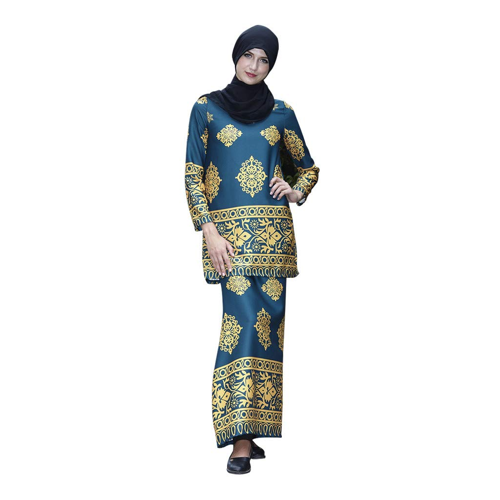 Women Muslim Dress Arab Islamic Middle East Long Sleeve Two-Piece Sets Dress Printing Top and Skirt CapsA Navy