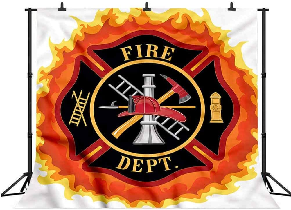 8x8FT Vinyl Wall Photography Backdrop,Fireman,Fire Department Icon Public Background for Baby Shower Bridal Wedding Studio Photography Pictures