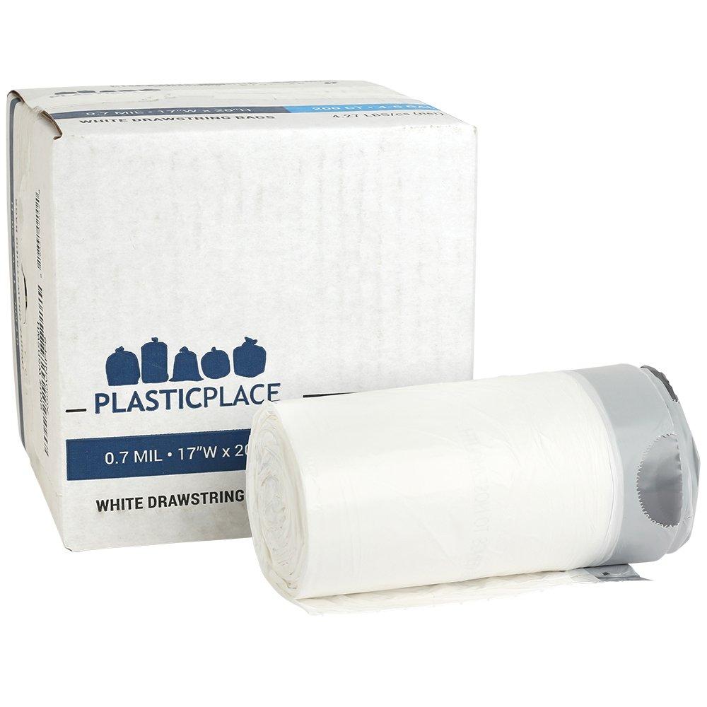 Plasticplace 4-6 Gallon White Drawstring Bags, 100% Prime Material, 17x20, 0.7 Mil, 200/Case