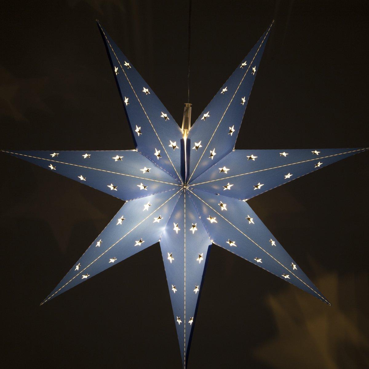 Wintergreen Lighting Fold-Flat 7-Point Star Light – Hanging Star – Christmas Star Light Decoration/Battery-Powered with Timer (24'', Blue)