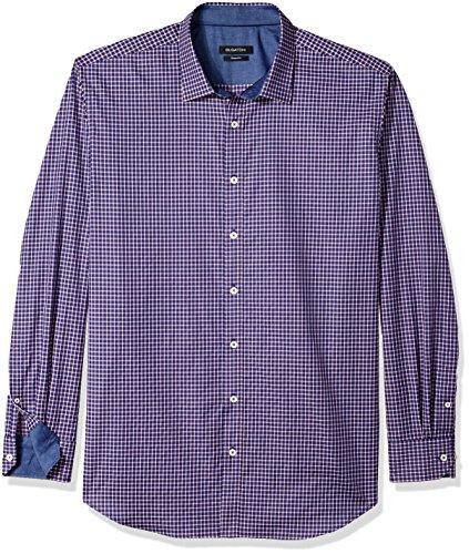 Bugatchi Men's Soft Seersucker Cotton Fitted Pointed Collar Shirt, Navy, M