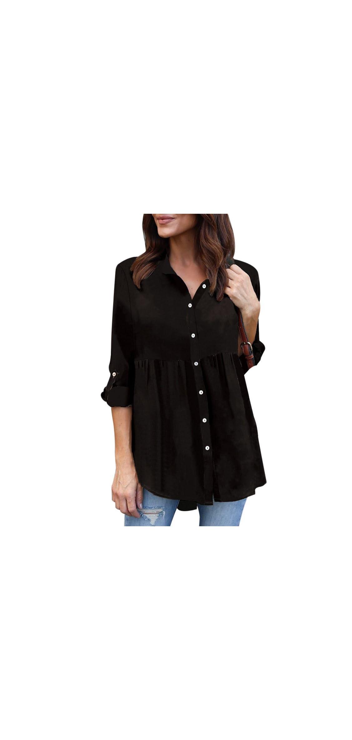 T-shirt Women Solid Plus Size Button Long Sleeve Chiffon