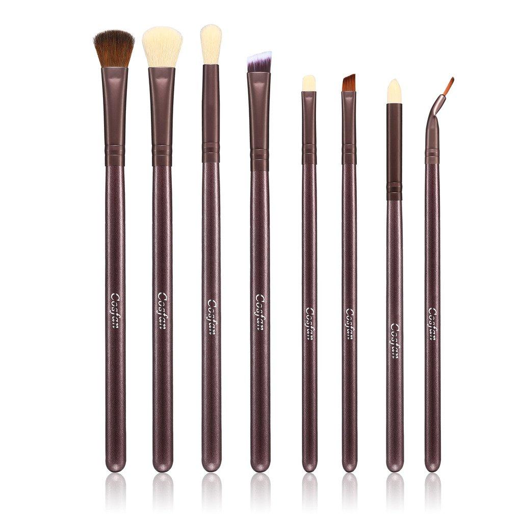 Pinceles de maquillaje 11piezas Mango de Bambú (Kabuki mezcla rubor cache-cernes ojos cara polvo líquido crema productos cosméticos pinceles Sets con bolsa Cosfan