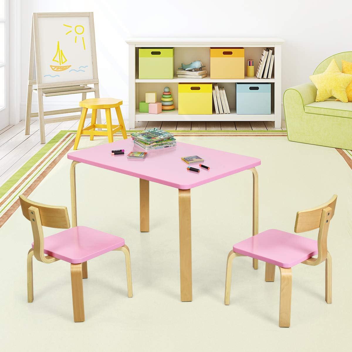 Kinderm/öbel aus Holz Kindersitzgruppe COSTWAY Sitzgruppe Kinder Kindertisch mit 2 Kinderst/ühlen Kindertischgruppe pink 3tlg
