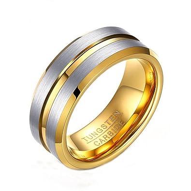 Herren Tungsten Stahl 8MM Draht Nut Gold Ringe: Amazon.de: Schmuck