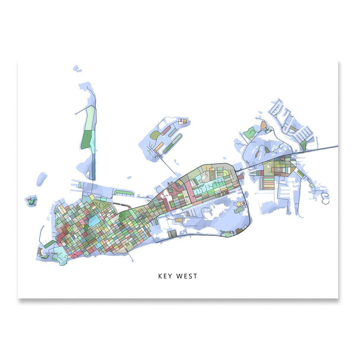 Florida In Usa Map.Amazon Com Key West Map Print Florida Keys Fl Usa Street Art