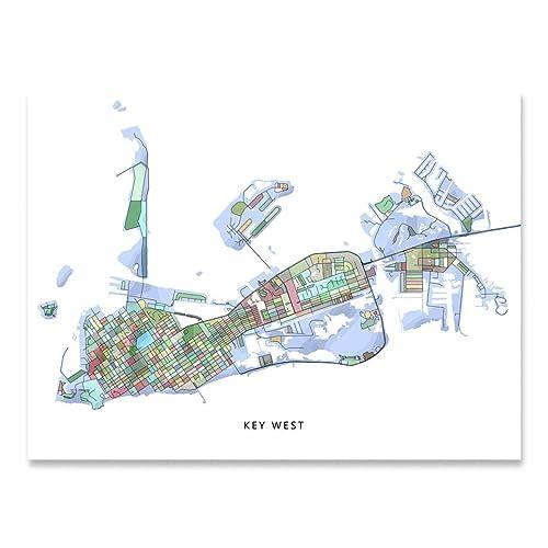 Printable Map Of Florida Keys.Amazon Com Key West Map Print Florida Keys Fl Usa