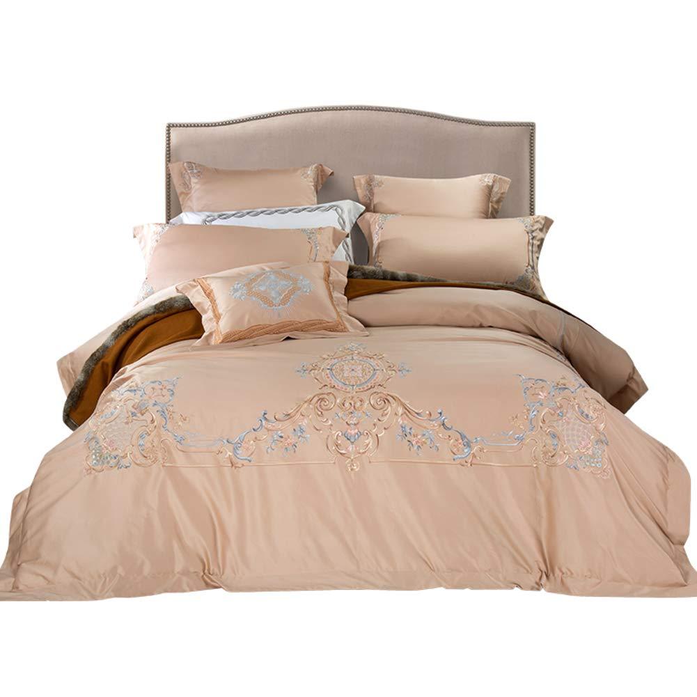 印刷 刺繍 羽毛布団カバーセット, かなり 8% ピンク 日焼けの光 プリンセス スタイル モチーフ デザイン ウルトラソフト 抗アレルギー 100% コットン 寝具-B B07P8ZRCWH