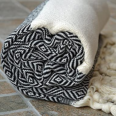 Dandelion Textile Diamond Pattern Naturally-Dyed Cotton Turkish Towel Peshtemal, 71x39-Inch, Black