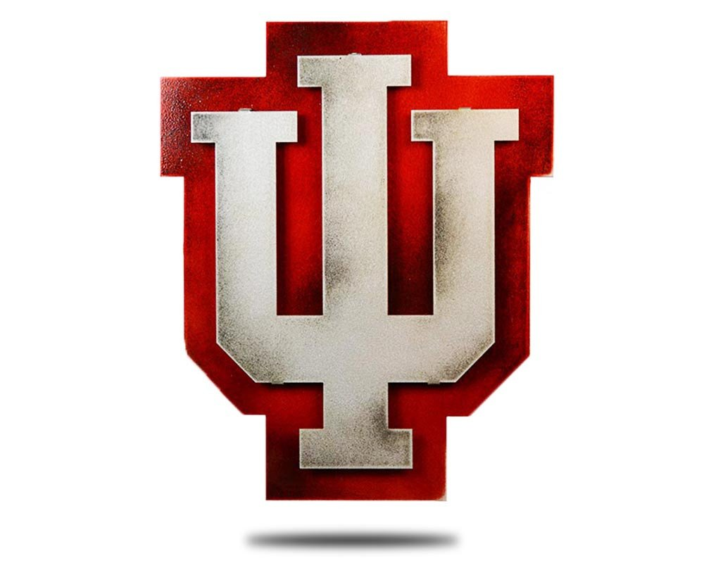 Gear New Indiana University Logo 3D Vintage Metal College Man Cave Art, Large, Red/Silver