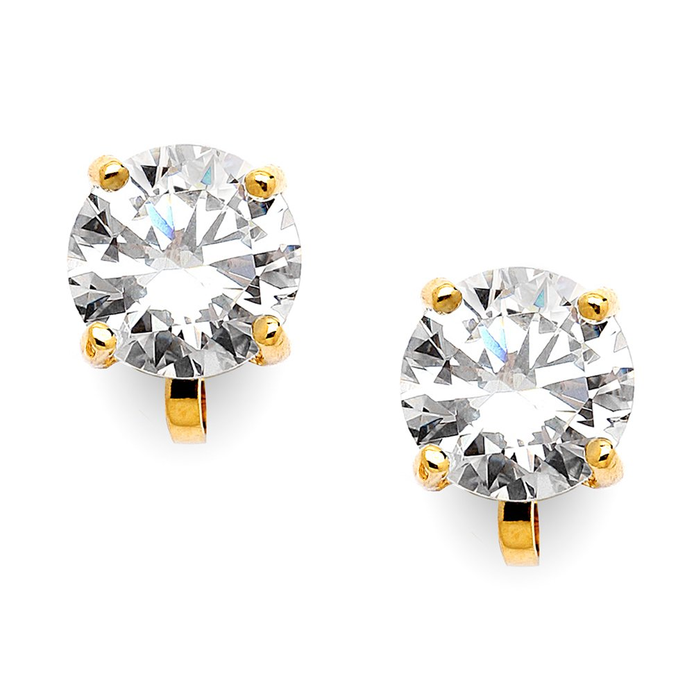 Mariell 14KT Gold-Plated 2 Carat CZ Clip-On Earrings - 8mm Round-Cut Solitaire Cubic Zirconia Studs