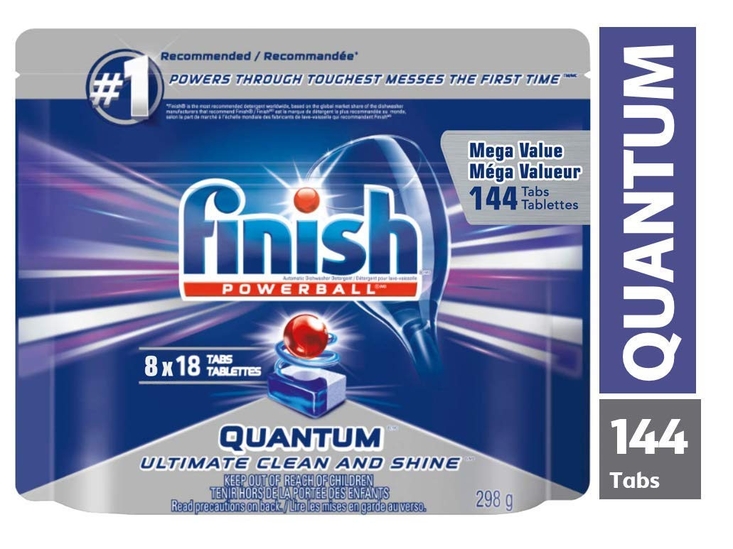 Finish Dishwasher Detergent, Quantum Max, Fresh, Gigapack, 144 Tablets (8x18ct), Shine and Glass Protect product image