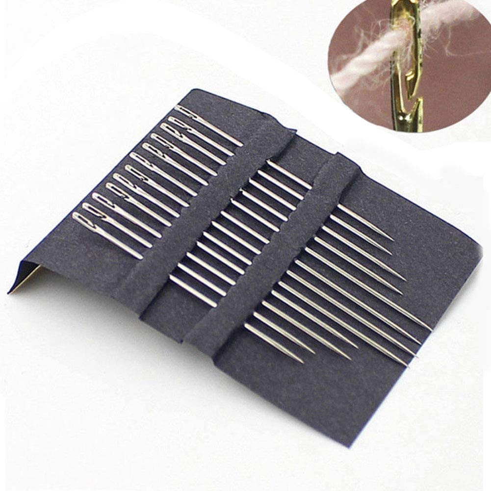 Household Easy-Threading Side Opening Sewing Needles Hand Darning Stitching Pins for Blind /& Old People Faderr 12pcs Stainless Steel Hand Sewing Needles Gold
