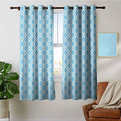 petpany Blackout Curtain Panels Window Draperies Abstract,Oval Shaped Linked Egg Form Style Retro Symmetric Simplistic Artful Design,Sky Blue White,for Bedroom, Kitchen, Living Room 52