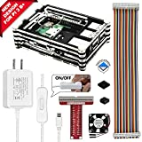 REXQualis Raspberry Pi 3 B+ (B Plus) Case with Fan, 2 Pcs Heatsinks, 2.5A Power Supply, T Type GPIO Breakout board, 40 Pin Rainbow Cable for Raspberry Pi 3 Model B+ (Black + Clear)