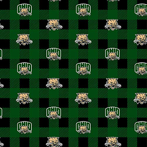 - Ohio University Fleece Blanket Fabric-Ohio University Bobcats Fleece Fabric with Buffalo Plaid Design
