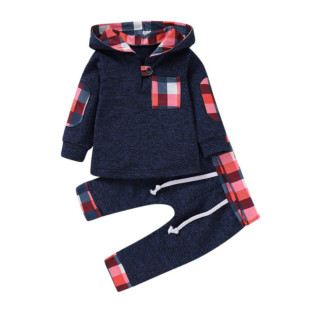 FeiliandaJJ Baby Clothing Set, 2pcs Infant Toddler Baby Boy Girl Long Sleeve Plaid Hooded Pullover Tops+Pants Outfits Clothes