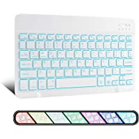 XIWMIX Ultra-Slim Wireless Bluetooth Keyboard - 7 Colors Backlit Universal Rechargeable Keyboard Compatible with iPad…